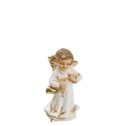 Angel Playing with Horn antique white by Richard Mahr GmbH MAROLIN®