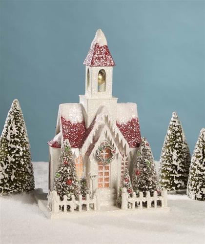 Christmas Church Glitter Cardboard Church Bethany Lowe