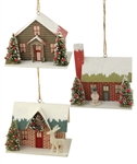 Vintage Holiday Cardboard House Ornaments set of 3 by Bethany Lowe