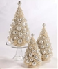 Ivory Platinum Bottle Brush Trees set of 3 by Bethany Lowe
