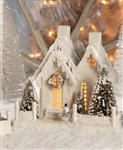 Large Ivory Christmas Glitter House by Bethany Lowe