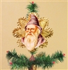 Purple Santa Dresden Tree Topper by Samantha Claus