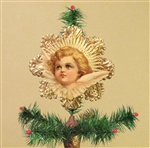 Rare Strawberry Blond Angel Dresden Tree Topper by Samantha Claus