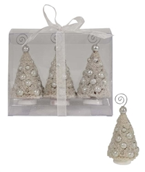 Mini Ivory Platinum Bottle Brush Trees Place Card Holder set of 3 by Bethany Lowe