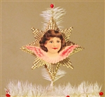 Pink Winged Angel Dresden Tree Topper by Samantha Claus