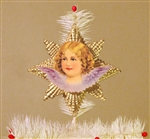 Purple Winged Angel Dresden Tree Topper by Samantha Claus