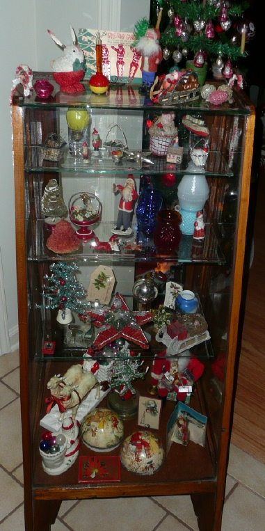 Old Christmas Displays Putz And Bottle Brush Tree Collection The Pink Paper Is A Rare Table Top With Original Tag From Star Brite
