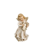 Angel Playing with Harp antique white by Richard Mahr GmbH MAROLIN®