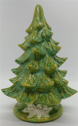 Small Ceramic Christmas Tree W Poinsettia Light Green Unlit 7