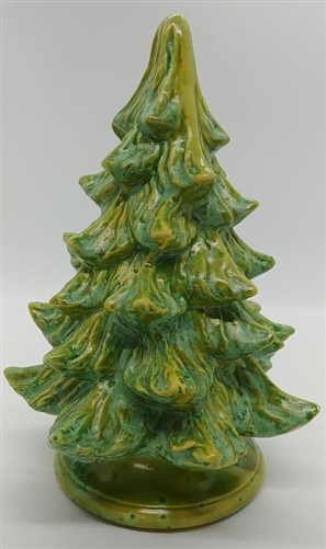 Ceramic Christmas Tree With Lights.Small Ceramic Christmas Tree W Poinsettia Light Green Unlit 7