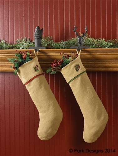burlap and pine christmas stocking by park designs - Burlap Christmas Stocking
