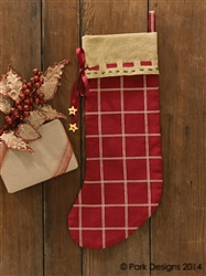 Cranberry Burlap Christmas Stocking by Park Designs