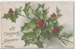 A Christmas Greeting Vintage Postcard
