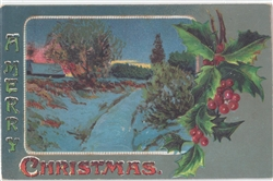 A Merry Christmas Vintage Postcard