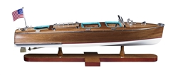 Triple Cockpit Wooden Boat Model by Authentic Models