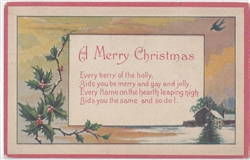 A Very Merry Christmas Vintage Postcard