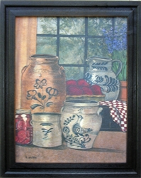 Antique Stoneware Crocks Framed Print by Bonnie Wolfe