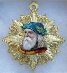 Blue Hat Santa Dresden Snowflake Ornament by Samantha Claus