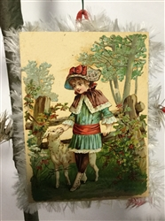 Card Ornament - Girl with Sheep Scrap - Fringed Edges by Dennis Bauer