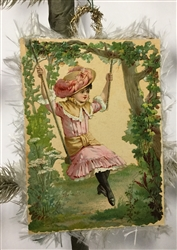 Card Ornament - Girl on Swing Scrap - Fringed Edges