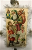Card Ornament - Santa with Children Scrap - Fringed Edges