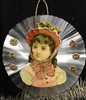 Spun Glass Ornament - Woman Pink Bonnet Scrap - Dresdens by Dennis Bauer