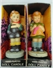 Dan-Dee Hand-Painted Doll Candle Dolls Boy/Girl pair