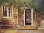 Doorway in Cotswolds Matted Print by Bonnie Wolfe