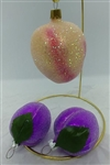 Glittered Plums and Peach Christmas Fruit Ornaments