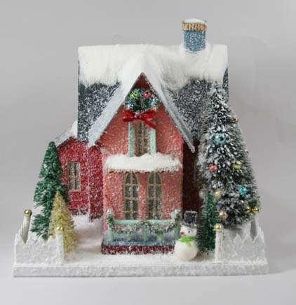 Christmas Houses.Holiday Finery Cardboard Christmas Glitter House