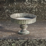 Galvanized Round Server on Wood Pedestal by Ragon House