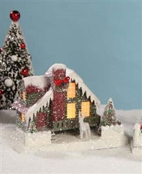 Red Christmas Glitter House by Bethany Lowe