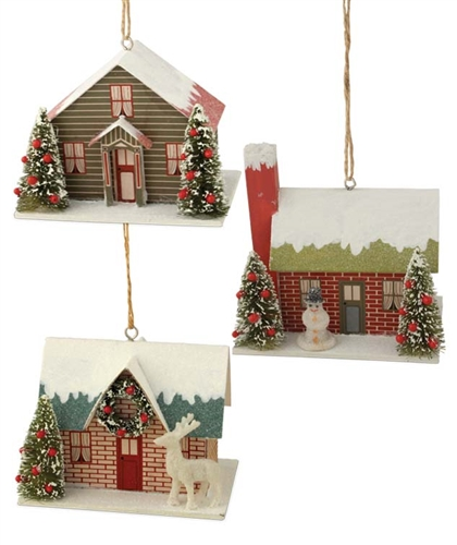 Cardboard Christmas Houses.Vintage Holiday House Cardboard Ornament Set Of 3
