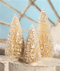 Ivory Bottle Brush Trees set of 3 by Bethany Lowe