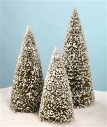 Ex Lg Olive Green Bottle Brush Trees set of 3 by Bethany Lowe