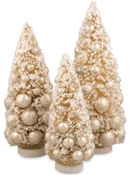 Winter Ivory Bottle Brush Trees set of 3 by Bethany Lowe
