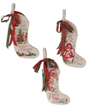 Small Vintage Christmas Stockings set of 3 by Bethany Lowe