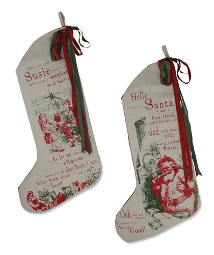 all i want for christmas stockings set of 2 by bethany lowe - Primitive Christmas Stockings