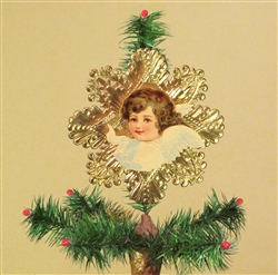 Dark Haired Angel Dresden Tree Topper by Samantha Claus