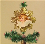 Red Haired Angel Dresden Tree Topper by Samantha Claus