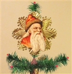 Red Santa Fur on Cap Dresden Tree Topper by Samantha Claus