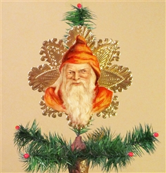 Red Santa Dresden Tree Topper by Samantha Claus