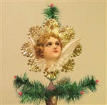 Rare Brown Haired Angel Dresden Tree Topper by Samantha Claus