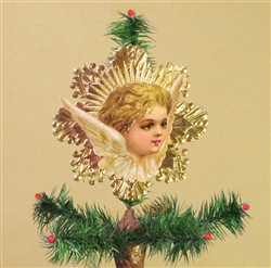 Rare Blond Haired Angel Dresden Tree Topper by Samantha Claus