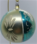 Lg Vtg Ball Ornament - Polish - Teal Silver Gold w/flocking