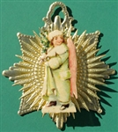 Pink Winged Snow Angel Dresden Snowflake Ornament by Samantha Claus