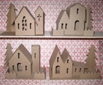Putz Glitter House Village Kit 3 Houses 1 Church