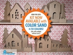 Putz Village Kit Assortment of 3 Houses 1 Church with Sand