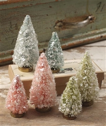 Miniature Flea Market Bottle Brush Trees set of 6 by Bethany Lowe