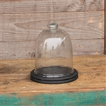 Large Glass Cloche with Black Wood Base 10""